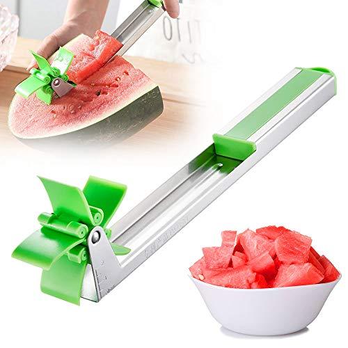 AODOOR Wassermelonen Schneider, Edelstahl Wassermelonen Messer, Windmühle Wassermelonen Schneider Kreative Cutter Messer Ohne Aufwand Multifunktions Obstmesser, für Obstsalat, Wassermelone, Melone