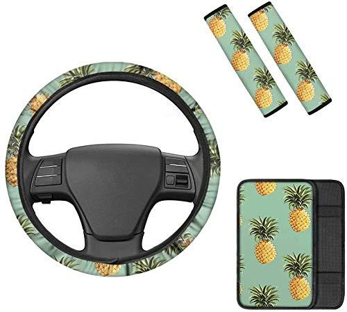 Advocator - Coprimavera centrale per la console+copertura per la cintura di sicurezza+coprivolante, confortevole decorazione per interni auto, set completo da 4 pezzi, ananas tropicali