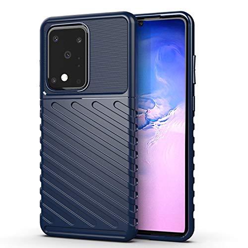 MAXJCN Caso para Samsung Galaxy S20 Ultra, Cubierta de Caja Suave, absorción de Golpes Antideslizante TPU Flexible TPU Tapa Protectora de teléfono Inteligente (Color : Blue)