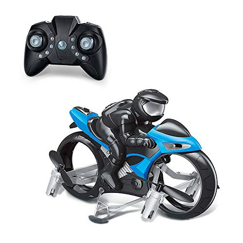 2-In-1 RC Motorcycle Mini Drone Remote Control Quadcopter Toy with Adjustment Speed 360 Degree Spinning Action Stunt for Kid Adult Boy Girl (Blue)