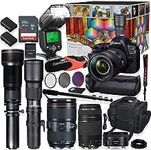 Canon EOS 5D Mark IV DSLR Camera 5 Lens Professional Bundle with Canon 24-105mm USM, 50mm f/1.8 & 75-300mm Lenses + 500mm & 650-1300mm Preset Telephoto Summer Special Wildlife Bundle