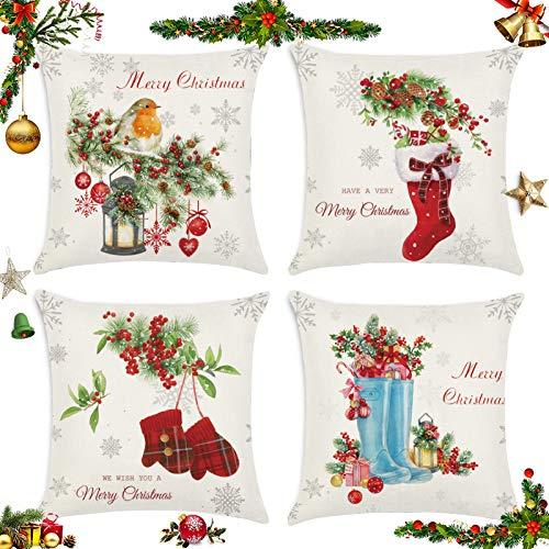 Sunshine smile 4 pcs Fundas navideñas para Cojines,Funda de Almohada decoración para hogar,Funda de Almohada de Navidad,Fundas para Cojines de Sofa,Funda de Almohada Decorativa