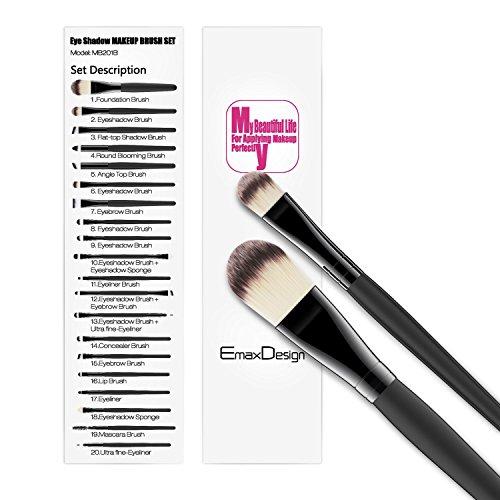 EmaxDesign 20 pezzi-Set di pennelli professionali per trucco,...