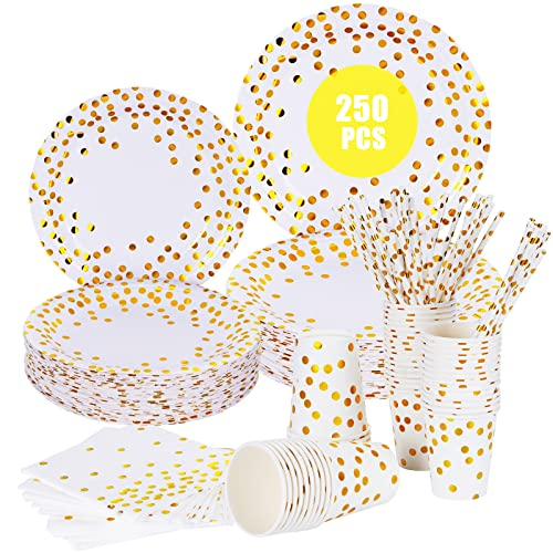esafio Party Tableware, 250 pcs Party Supplies for Kids, Disposable Tableware Set Include Gold Dot Party Plates, Napkins, Paper Cups and Straws for Birthdays, Parties, Weddings, Anniversary,Halloween