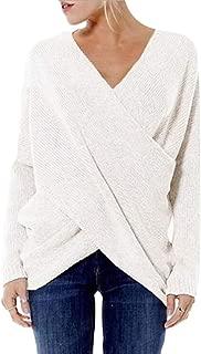 Macondoo Women's Irregular-Hem Knit Cross Pullover Jumper V-Neck Sweaters