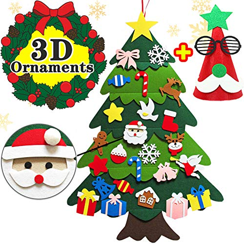DIY Felt Christmas Tree for Kids 3.3FT Wall Christmas Tree with Ornaments Door Wall Hanging Christmas Tree Decorations Decor Toddlers Christmas Xmas Gifts with Hat - 27 PCS