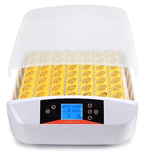 Brutmaschine Vollautomatisch Hühner von Serface, Brutapparat Brutkasten Hühner für 56 Eier Flächenbrüter 46 x 49 x 17 cm