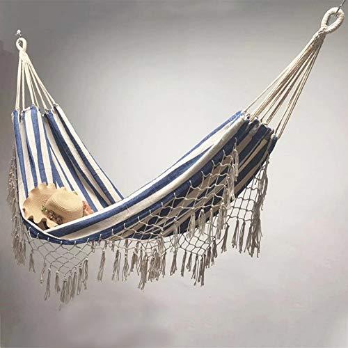 LOGO Hamaca for Dormir colgados oscilan Silla de Playa Recorrido Que acampa Cama Colgante Plegable Doble Jardín Hamaca (Color : Blue)