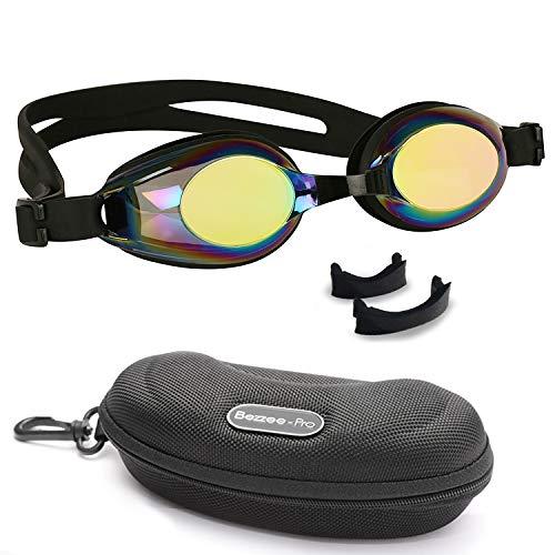BEZZEE PRO Kinder Schwimmbrille - UV Geschützte Lecksicher Spiegelbrille - Farbige Linse mit Aufbewahrungskoffer und 3 Austauschbaren Nasenstegen zum 4 zu 12 Jahre Jungen und Mädchen