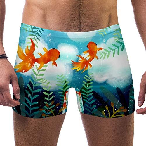 Lorvies Herren Badeanzug mit süßem Goldfisch, kurz, quadratisches Bein, schnell trocknend, Größe S Gr. S 7-9, multi