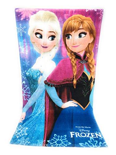 Reine des neiges Serviette de Plage, Drap de Plage en Coton 100% (290gm/m2) - 70x140 cm - Frozen Disney - Elsa & Anna