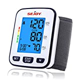 Sejoy Blood Pressure Monitor, Wrist Cuff, Automatic Digital BP Machine, Pulse Rate Monitoring Meter, Large Backlit Display, Batteries Included