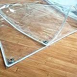 Lonas de Protección 0,35mm,Lona de PVC Transparente Impermeable,Tela Cubierta para Muebles de Jardín,Toldos de Plantas, Resistente al Polvo y Anti-envejecimiento,con Ojales(1.4x4m/4.6x13.1ft)