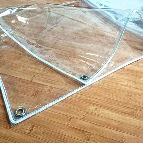 Clear Soft Glass Protective Tarpaulin,0,35mm Waterproof Dustproof Rainproof Outdoor Multifunction Tent,Heavy Duty Transparent Tarp, with Eyelets,for Garden Furniture,Pool,Car(1x4m/3.3x13ft)