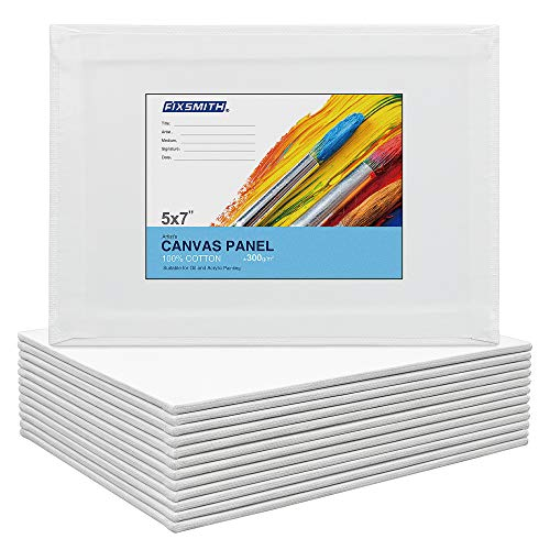 FIXSMITH Painting Canvas Panels - 9 x12 Inch Canvas Panel Super Value 12 Pack,100% Cotton,Primed Canvas Board,Acid Free,Artist Canvas Boards for Professionals,Hobby Painters,Students & Kids.