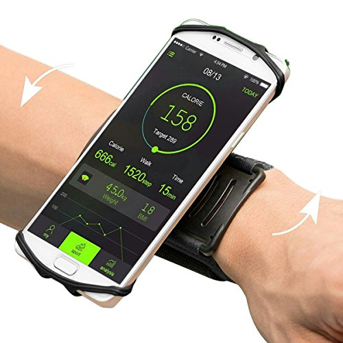 """Sport Armband,VUP+ Universal Rotatable Wristband Fit up 4"""" to 5.5""""Phone for Running,Biking,Workouts or any Fitness Activity Securely in Stretch Lycra (Black)"""