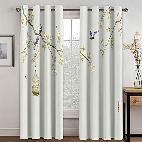 YUNSW Cortinas Decorativas con Estampado De Animales con Estampado Digital Blanco para Cortinas Opacas para Sala De Estar Y Dormitorio Juego De 2 Piezas