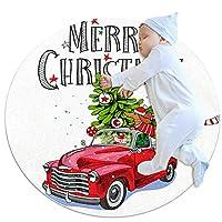 ソフトラウンドエリアラグ 100x100cm/39.4x39.4IN 滑り止めフロアサークルマット吸収性メモリースポンジスタンディングマット,クリスマスカード