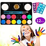Volador Kinderschminken Schminkfarben, 12er Schminkset Kinder Wit 1 Glitzer, 2 Pinsel, 2 Schwämme,26 Malerschablonen- Kinder Parties Halloween Karneval Make-up Bodypainting
