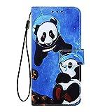 Phcases Für Samsung Galaxy A10s Hülle Case Malen Leder Tasche Handyhülle Flip Cover Skin Standfunktion Schale Stoßdämpfend Bumper Magnetverschluss Brieftasche Schutzhülle-Panda. -