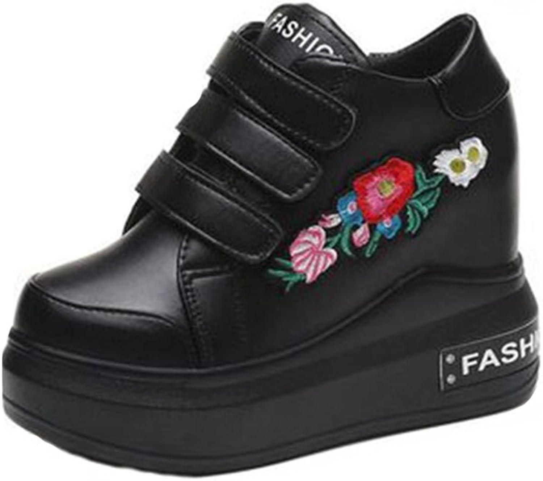 GIY Wedges Sneakers for Women, High Hidden Heel Hook-and-Loop Platform Walking Fashion Flowers Sneaker