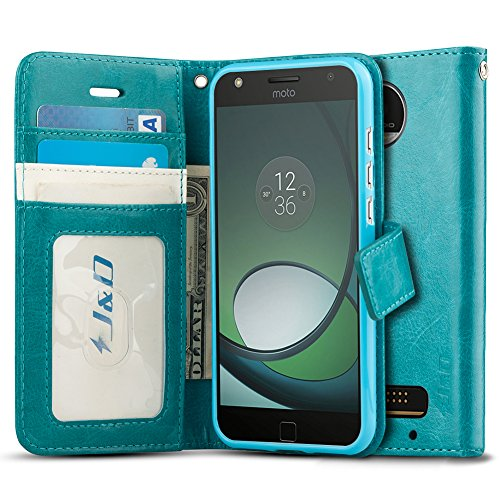 J&D Case Compatible for Moto Z Play Droid Case, Wallet Stand Slim Fit Heavy Duty Protective Shockproof Flip Wallet Case for Motorola Moto Z Play Droid Wallet, Not for Moto Z2 Play/Z3 Play