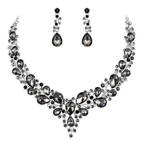 Clearine Damen Hochzeit Braut Österreichen Kristall Tropfen Cluster Statement Halskette Dangle Ohrringe Schmuck Set Grau Schwarz Silber-Ton