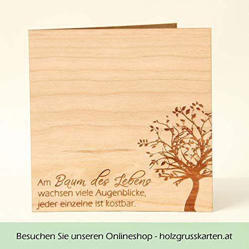 Holzgrußkarten Baum des Lebens - 100% Made in Austria - Karte besteht aus Kirschholz - einzigartige Grußkarte mit tiefer Bedeutung geeignet als Postkarte, Grusskarte, Spruchkarte, Bildpostkarte uvm.