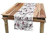 ABAKUHAUS Asiatico Servizio all'Americana, Bullfinch Uccelli Sakura, Rettangolare Decorativo per Sala da Pranzo Cucina, 40 cm x 180 cm, Rosa Nero Grigio
