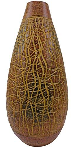 Rotfuchs Vase Tonvase Teracottavase Blumenvase Bodenvase Handarbeit Dekoration braun beige schwarz