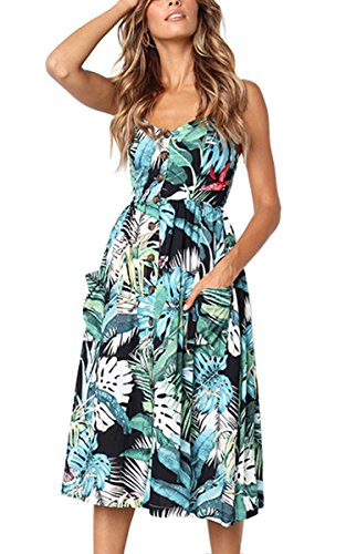 Angashion Women's Dresses-Summer Floral Bohemian Spaghetti Strap Button Down...