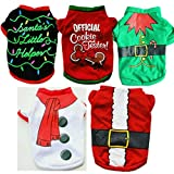 Dog Christmas Costumes,5 Pcs Soft Comfy Christmas Cosplay Puppy Pullover Sweatshirt Doggie Winter Cold Weather Clothes Cat Xmas Costumes(M,multicolor)