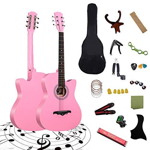 アコースティックギター ギター 初心者向け 38インチ 25点セット 弦 ストラップ チューナー 子供 学生 大人用 入門練習ギター ケース付き(ピンク)