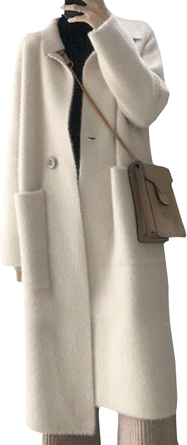 MOUTEN Women Pockets Loose Fit Double Breasted Winter Maxi Trench Pea Coat Overcoat Outwear