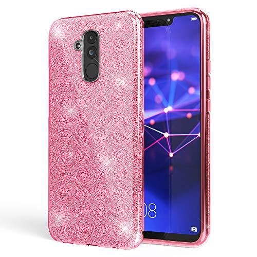 NALIA Purpurina Funda Compatible con Huawei Mate20 Lite, Carcasa Protectora Movil Silicona Ultra-Fina Glitter Gel Bumper, Lentejuela Cubierta Delgado Back-Cover Slim Smart-Phone Case, Color:Pink Rosa