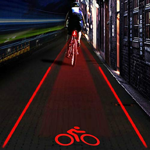 SFNTION Fahrrad-Rücklicht, 5 LEDs, 2 Strahlen, Fahrrad-Projektor, Rücklicht, Blinker, Logo, Projektion, Fahrräder, Sicherheitswarnlampe, verschiedene Projektionsmuster