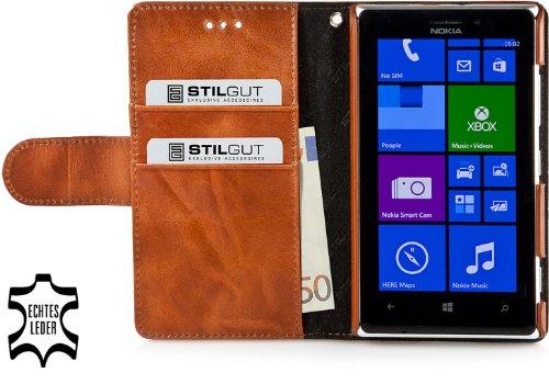 StilGut Talis Book Type, Custodia in Vera Pelle per Nokia Lumia 925 con Scomparti per Carte di Credito e Biglietti da Visita