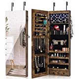 Jewelry Cabinet | Rustic Full-length mirror | 8 LED Lights Jewelry Armoire | Lockable Jewelry Storage Organizer Both With Drawers | Wall-Mount/Door-Hanging Armoire