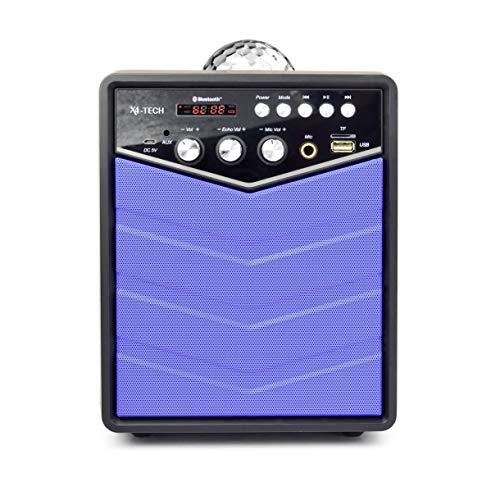 X4-TECH Rockstar – Tragbarer Bluetooth Lautsprecher - Mobile Soundanlage - Karaoke Anlage Party Discokugel Discolicht USB SD Echo-Funktion Akku