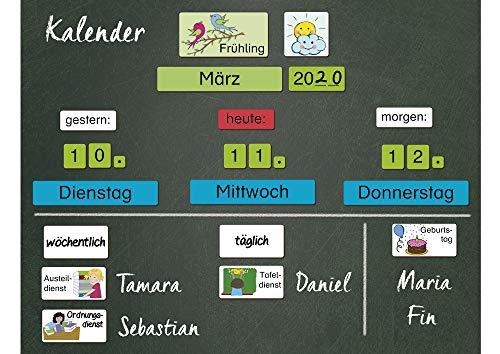TimeTEX Magnetischer Kalender - spielerisches Lernen von Datum und Jahreszeiten - mit Klassendiensten - 79-teilig - 94938
