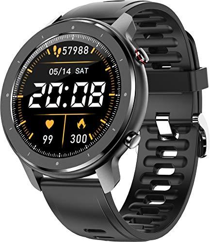 Smartwatch Bluetooth Call Herren Full Touchscreen Fitnissuhr Schrittzähler Pulsuhr Kalorien Tracker Schwarz Wecker Sportuhr Blutdruck Android Herzfrequenzmesser IP67 Wasserdicht IOS