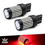 7440 7443 7444 Strobe LED Bulbs Red, Ultra Bright 144-SMD LED Replacement for Brake lights, 12V flashing warning brake light, for rear car/truck brake light 7443 bulbs (Pack of 2)