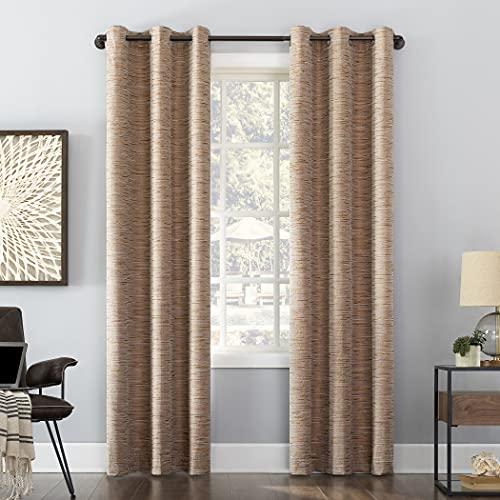 "Sun Zero Denver Distressed Stripe Thermal Extreme Total Blackout Grommet Curtain Panel, 40"" x 84"", Pecan"