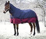 Outdoordecke TYREX 1200 D Equi-Theme 200g Füllung mit Halsteil, 135 cm wasserdicht dunkelblau/weinrot mit Kreuzgurten | Pferdedecke