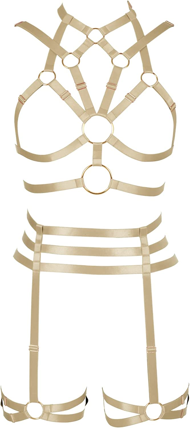 Women's Body Harness Bra Full cage Surprise price  Gothic Punk Challenge the lowest price Set Garter