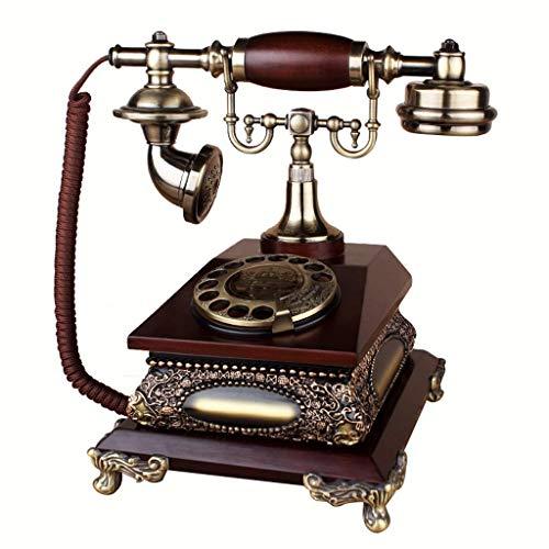 TRTT Teléfono Fijo Retro Europeo clásico Línea Fija casera, teléfono Retro Creativo Resina Europea dial Giratorio decoración del teléfono cafetería Bar decoración de la Ventana Accesorios de Deco