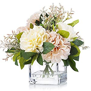 Enova Home Artificial Silk Dahlia Flower Arrangements in Cube Glass Vase for Home Wedding Decoration (Cream Pink)
