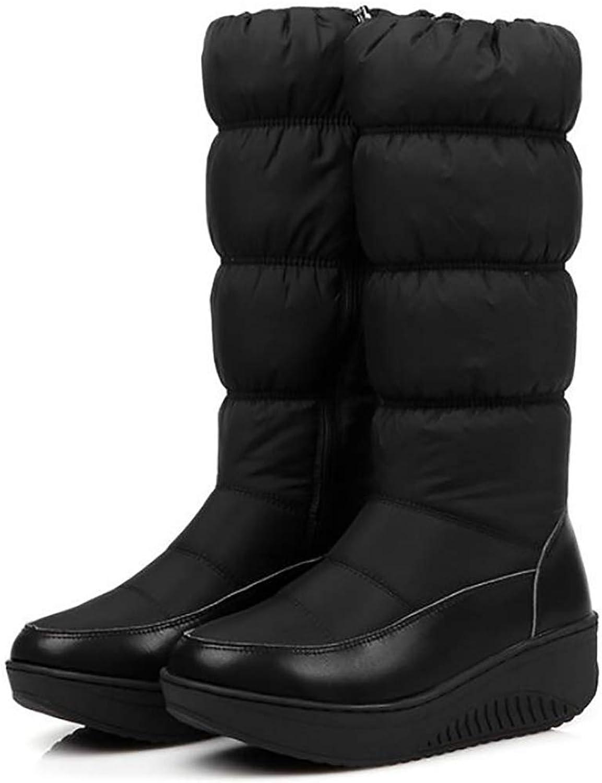 Oudan Winter Warm Warm Warm Schneestiefel Winterschuhe Frau Over-The-Knee Zip Schneestiefel Keil Heels Plattform Reißverschluss Stiefel,Blau,40 (Farbe   Schwarz, Größe   43)  18be61