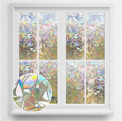 rabbitgoo Window Privacy Film, Rainbow Window Clings, 3D Decorative Window Vinyl, Stained Glass Window Decals, Static Cling Window Sticker Non-Adhesive, 35.4 x 118 inches