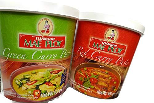 Mae Ploy Paquete de pasta de curry verde y curry rojo 1 de cada uno